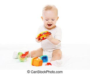 heiter,  baby, spielende, Windeln, Spielzeuge