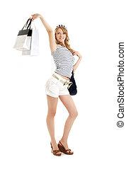 heiter, blond, mit, einkaufstüten, #2