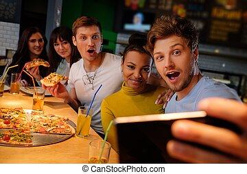 heiter, essende, multirassisch, pizzeria., spaß, friends,...