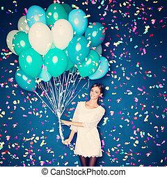 heiter, frau, mit, luftballone, und, konfetti