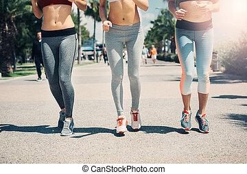 heiter, jogging, park, anfall, frauen
