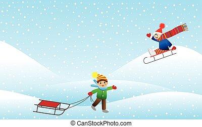 Berglandschaft, winter, heiser, hunden, rodeln Clipart ...