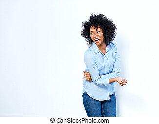 heiter, junger, afrikanische amerikanische frau, lachender, weiß, hintergrund