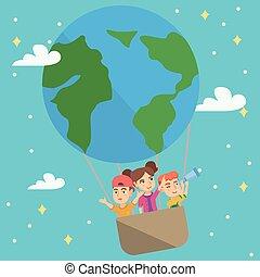 heiter, kaukasier, kinder, reiten, a, heißluft, balloon.