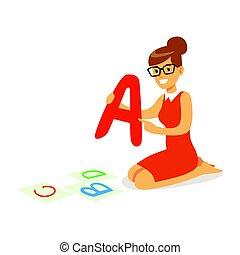 heiter, lehrer, sitzen boden, und, ausstellung, der, brief, a., bunte, karikatur, zeichen, vektor, abbildung