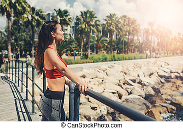 heiter, m�dchen, strand, sportliche , entspannend