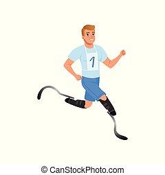 heiter, mann, mit, künstlich, beine, rennender , marathon., junger, kerl, mit, physisch, disabilities., aktive, lifestyle., wohnung, vektor, design