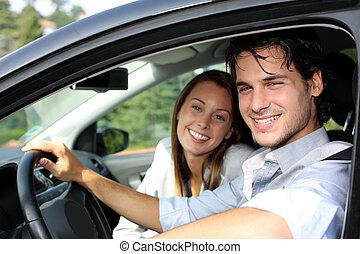 heiter, paar, fahren, auto