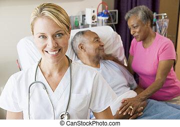 heiter, schauen, krankenzimmer, doktor
