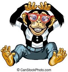 heiter, schimpanse, karikatur, brille