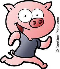 heiter, schwein, karikatur, trainieren