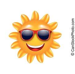 heiter, sommersonne, sonnenbrille, gesicht