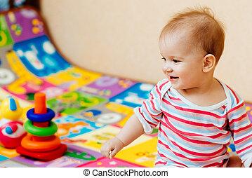 heiter, Spielzeuge, spielende, Kind, Boden