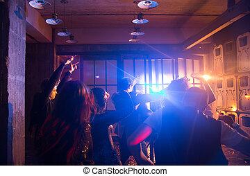 heiter, tanz, crowd, boden