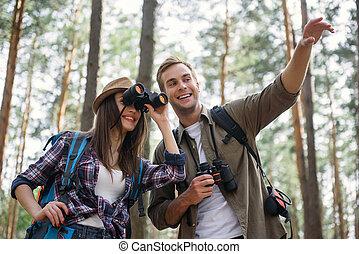 heiter, touristen, junger, entspannend, natur