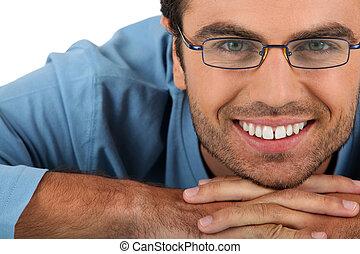 heiter, tragende brillen, mann