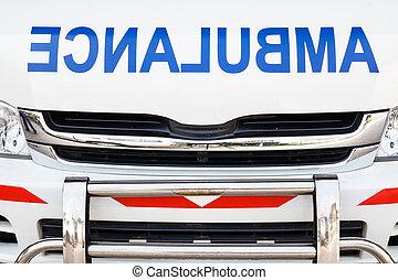 heizkörper, haube, von, krankenwagen, (, gegenteil, alphabet, )