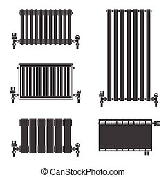 vektor clipart von zentral heizk rper heizung symbole schwarz w rmen csp36523800. Black Bedroom Furniture Sets. Home Design Ideas
