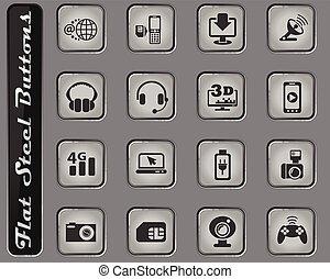 hej, sätta, tech, ikon