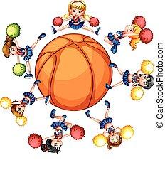 hejarklacksanförare, basketboll, omkring, lycklig