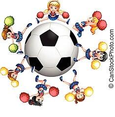hejarklacksanförare, fotboll, omkring, boll, dansande