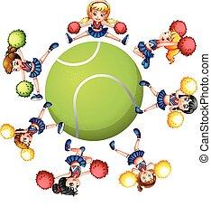 hejarklacksanförare, tennis, omkring, boll, dansande