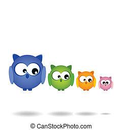 hejno, owls..., rodina, hezký