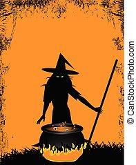 heks, halloween, achtergrond, ketel