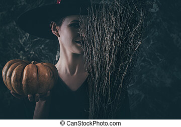 heks, halloween, broom., holde, pumpkin