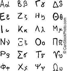 helénico, garabato, letters., griego, vector, mano, alfabeto...