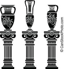 helénico, jarras, con, iónico, columnas