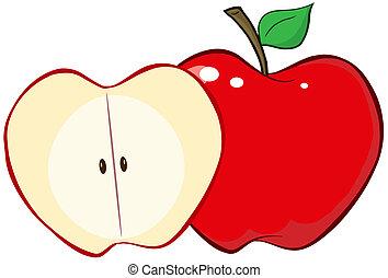 hel, och, snitt, rött äpple