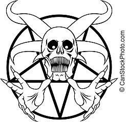 hel, -, pentagram, meldingsbord