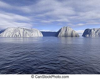 helado, aguas, océano