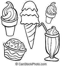 helado, alimento, artículos, arte de línea
