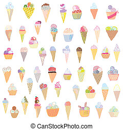 helado, conjunto, divertido, diseño, -, mano, dibujado,...