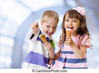 helado, resumen, café, cono, niños
