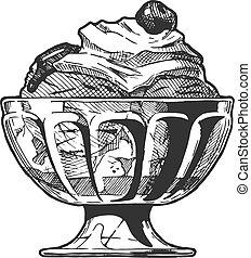 helado, servido, en, vidrio, bowl.