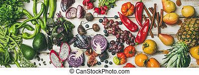 Helathy raw vegan food cooking background, top view -...