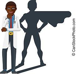 held, arts, medisch, jonge, fantastisch, spotprent, mascotte
