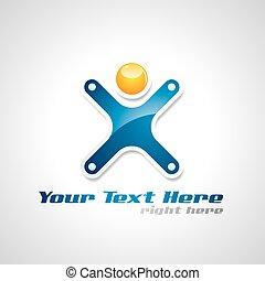held, figure., abstrakt, vektor, menneske, logo, korporativ