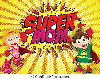 held, mama, moeder, fantastisch, dag, vrolijke
