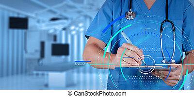 held, raffineret, medicinsk doktor, hos, operere rum