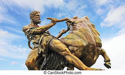held, statue, deutschland, mittelalterlich, schwerin