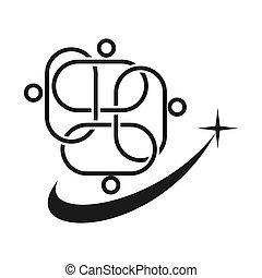 held, teamwork, løsning, sammen, commitment, sort, logo