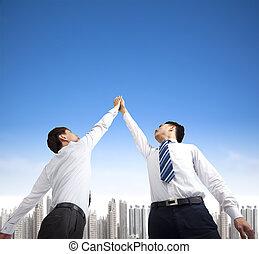 held, to, gestus, forretningsmænd