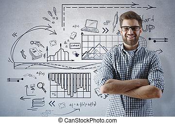 held, videnskab, undervisning, og, finans, begreb