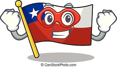 held, vrijstaand, vlag, chili, fantastisch, spotprent