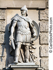 heldenplatz, neuen, soldaat, wenen, facade, romein, burg, ...