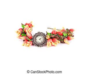 helder, armband, met, bloem, en, watch.
